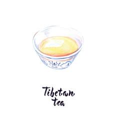 Watercolor tibetan tea vector