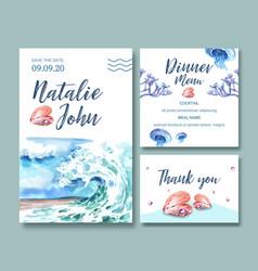 Wedding invitation watercolor design with wave vector