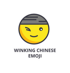 Winking chinese emoji line icon sign vector