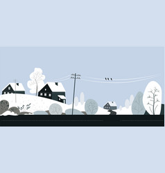 winter countryside scenery with cottage houses and vector image