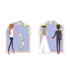 Woman decorating wedding arc vector