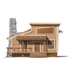 Wooden house with stone chimney in country style vector image