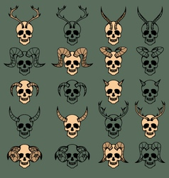10 Evil Skull Collection vector image
