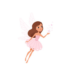 cartoon fairy girl flying and spreading magical vector image vector image