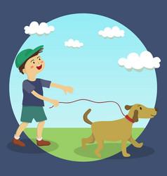 dog walking boy vector image
