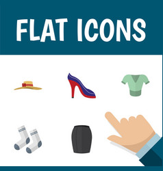 Flat icon clothes set of elegant headgear heeled vector
