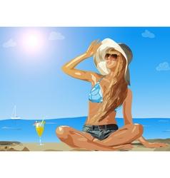 Young slim woman on sea beach vector image