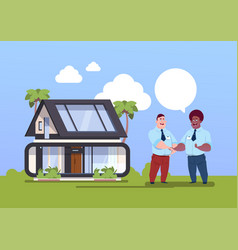 buying house concept agent and new owner shaking vector image