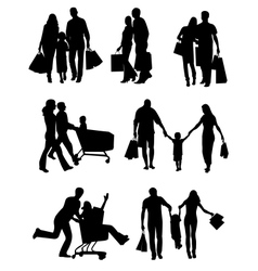 Family Silhouettes Shopping vector image vector image