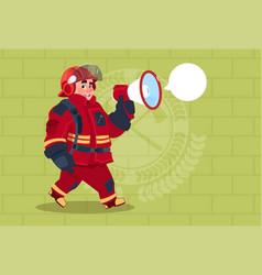 fireman speaking in megaphone wear uniform and vector image vector image
