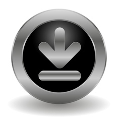 Metallic download button vector image