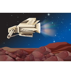Spaceship flying above the planet vector image vector image