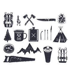 vintage hand drawn adventure hiking camping vector image vector image