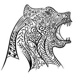zentangle stylized doodle of bear head vector image vector image