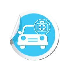 Cars first aid kit blue label vector