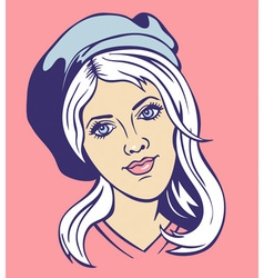 girl in a beret vector image vector image