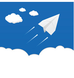 paper airplane above the clouds vector image