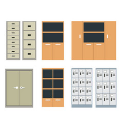 set of office cabinet and locker in flat style vector image vector image