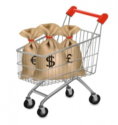 shopping cart with sacks vector image vector image