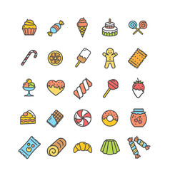sweets and bakery icon thin line set vector image vector image