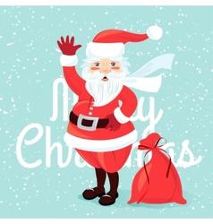 Waving Santa Claus with sack full of presetns Flat vector image