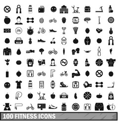 100 fitness icons set in simple style vector image