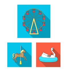 Amusement park flat icons in set collection for vector