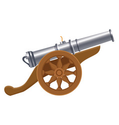 Antique canon with wheels weapon cartoon vector