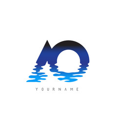 Ao a o letter logo design with water effect vector