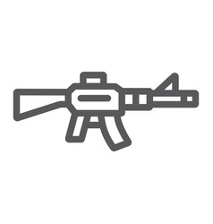 automatic rifle line icon army and war gun sign vector image
