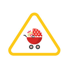 Baby on board caution car road sign sticker vector