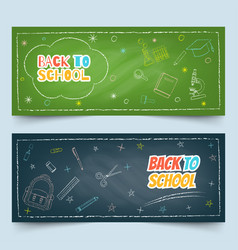 back to school element chalk drawing banners vector image