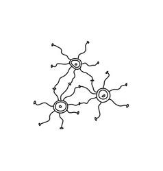 Banner many brain neurons in style art cartoon vector