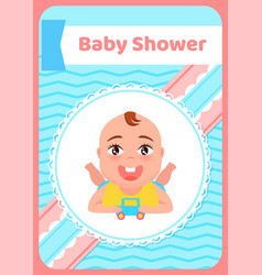 bashower greeting card kid lying on belly toy vector image