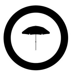 beach umbrella icon black color in circle vector image