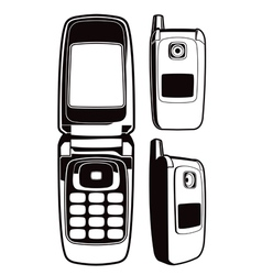 black and white retro cellular flip phone set vector image
