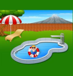 Boy floating on inflatable ring in the pool vector