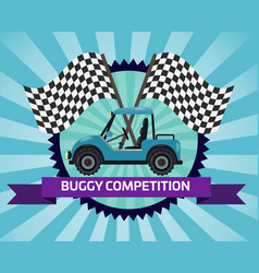 Buggy rally competition banner with checkered flag vector