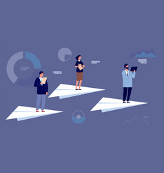 business team leader people on paper planes vector image