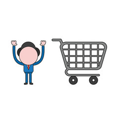 Businessman character with shopping cart color vector