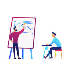 Businessman drawing business analysis chart and vector