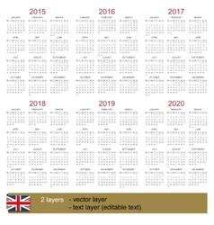 Calendar 2015-2020 vector image