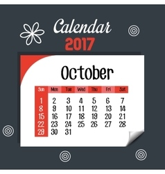 calendar october 2017 template icon vector image