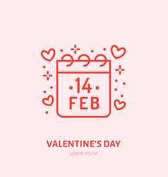 calendar with february 14 date flat line icon vector image