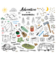Camping hiking hand drawn sketch doodle set vector