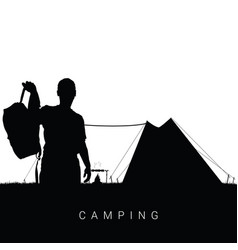 Camping in nature man silhouette in black vector