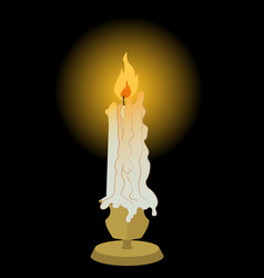 Candle on brass candlestick lit and melting vector