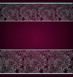 Card with silver floral ornament on red background vector