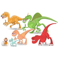 carnivorous dinosaurs collection set vector image