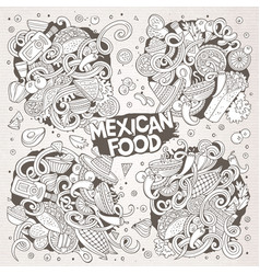 Cartoon set of mexican food doodle designs vector